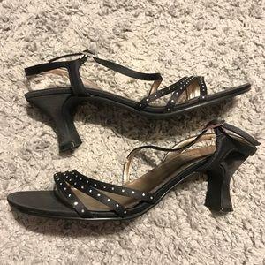 Unlisted Heels Black/Gold/Rhinestones Size 9.5